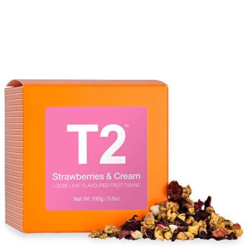 T2 Tea Strawberries and Cream Herbal Fruit Tea Tisane, Loose Leaf Herbal Tea in a Gift Cube, 100g