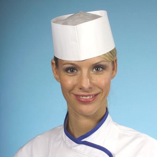 25 x bootjes/kookmuts van absorberend papier, 9 cm x 27,5 cm, wit, in grootte verstelbaar in dispenserdoos keuken kok