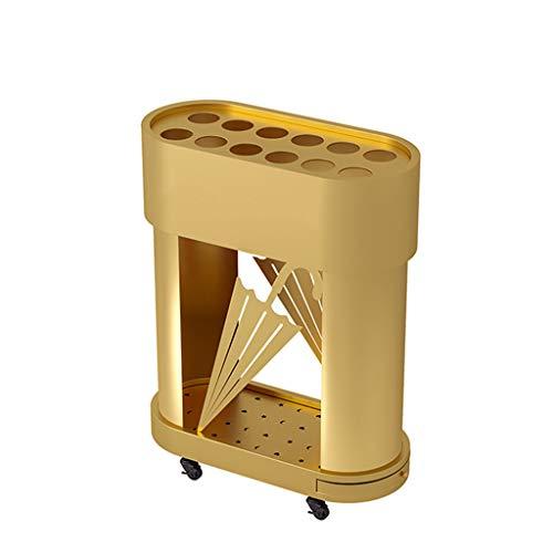 BBGS Schirmständer Regenschirmhalter, Freistehende Abnehmbare Tropfschale Haken Modernes Durable Décor Office Home, Mit Flaschenzug Entwurf (Color : Gold)