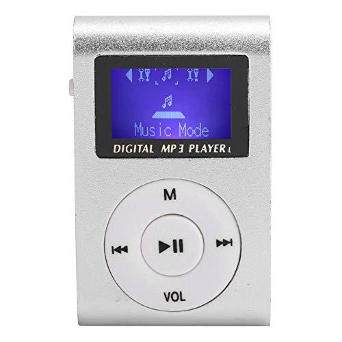 ROMACK Mini Reproductor de música, Reproductor de MP3 con Clip de extensión máximo de 32 GB, aleación de Aluminio con Mini Pantalla LCD para Escuchar música(Plata)