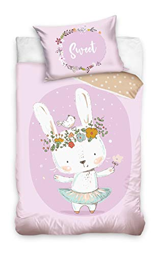 DHestia BABY203002 100% Natural Cotton Duvet Cover Set for Baby Cot Rabbit