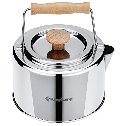 KingCamp Camping Cookware Mess Kit Camping Kettle Camp Tea Coffee Pot 1.2 L/40.6 Oz Portable Ultra-Light Outdoor Hiking Camping Picnic Water Kettle Stainless Steel