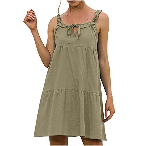 Masrin Robe unie sans manches pour femme - Avec bretelles spaghetti - Robe d'été plissée - Robe de tente, de plage - Taille L - Vert armée.