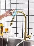 Grifo de la cocina Grifos de cocina de control táctil con sensor inteligente, mezclador de acero inoxidable dorado, grifo táctil dorado para grifos de fregadero extraíbles de cocina