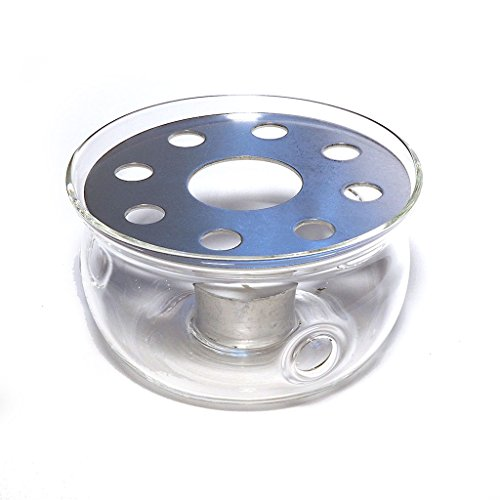 The Exotic Teapot - Glass Teapot Warmer Stand, Tea light Candle, Heat Resistant Glass, Stainless Steel Heater Plate