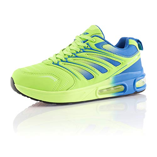 Fusskleidung® Damen Herren Sportschuhe Dämpfung Sneaker leichte Laufschuhe Blau Grün EU 36