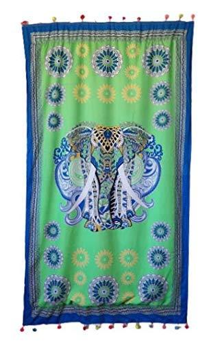 Goodforgoods Pareo Toalla Grande Playa Piscina para Mujer, Chica, Señora, Medidas 180x100 cm XXL con Mandala, Unicornio, Turquesa, Azul,Verde. (Verde 3)
