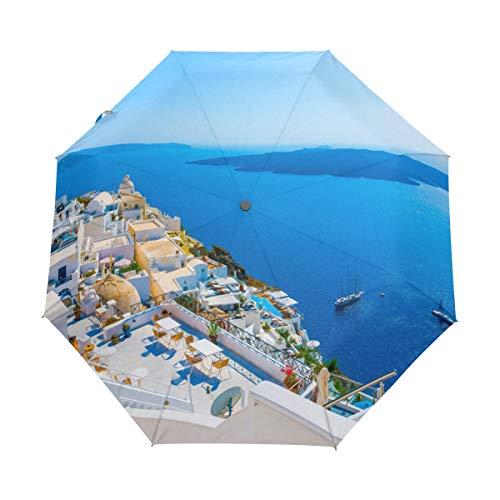 MONTOJ Grecia Santorini Caldera - Paraguas con Tres Pliegues para Viajes, protección UV con botón de Apertura automática