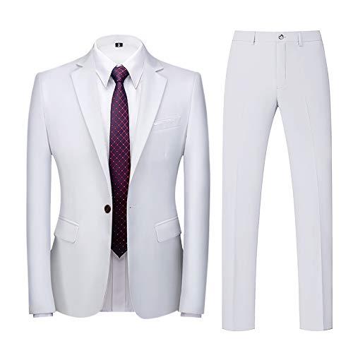 Business Suit for Men's 2-Piece Blazer Tuxedo Slim Single Button Coat Jacket & Pants Set for Wedding Party Dress White