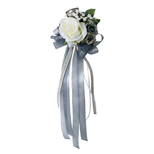 Homyl Kit de lazos y flores para tirador de puerta de coche de boda, color gris plateado, 32 x 12 x 10 cm