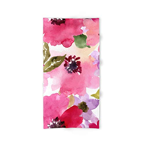 Society6 Hand & Bath Towel - Bath Towel - Watercolor Flowers Pink Fuchsia by Junkydotcom