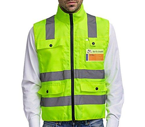 Warnweste Sicherheitsweste mit Reißverschluss L | Hohe Sichtbarkeit | Große Taschen | Reflektierende Arbeitsweste