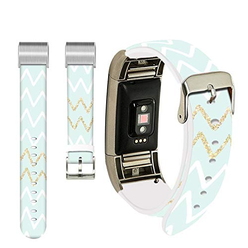 Citroen Bands for Fitbit Charge 3 SE,Ecute Replacement Band Fitbit Charge 3 Leather Bands Strap for Fitbit Charge 3/Charge 3 SE/Charge 4 -Golden and White Citroen Pattern