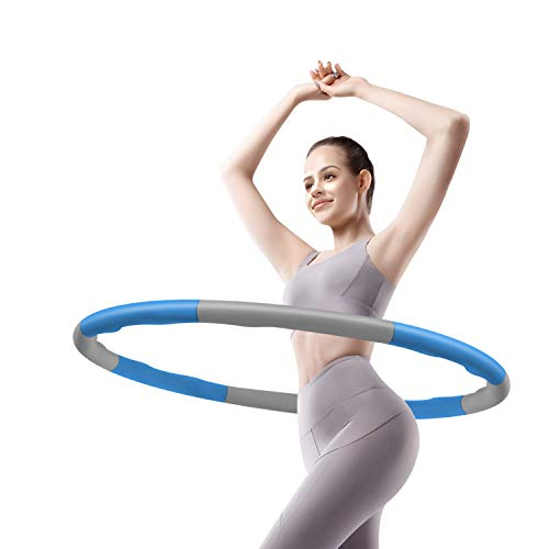Hula Hoops for Adults, 8 Sections Adjustable Weights, Exercise Removable Multiple Assembly Design Professional Fitness Hula Hoop, Weight Loss for Woman and Man Exercise, Blue & Gray
