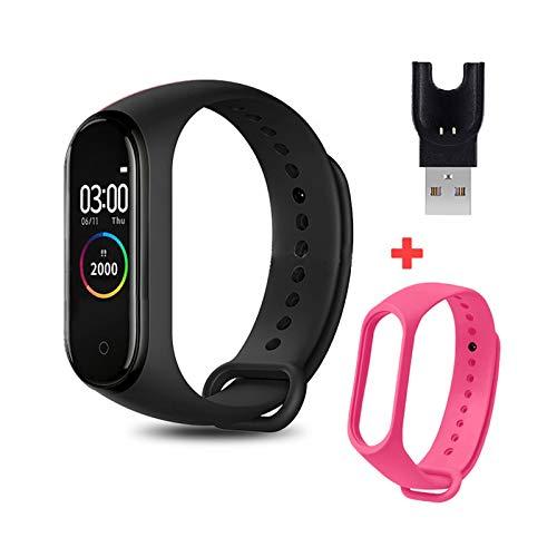 YONGLI M4 Smart Brazalet Band SmartBand Impermeable Presión Arterial Pulsera Monitor De Ritmo Cardíaco Monitor Fitness M4 Smart Watch para Hombres (Color : with Rose Red Strap)