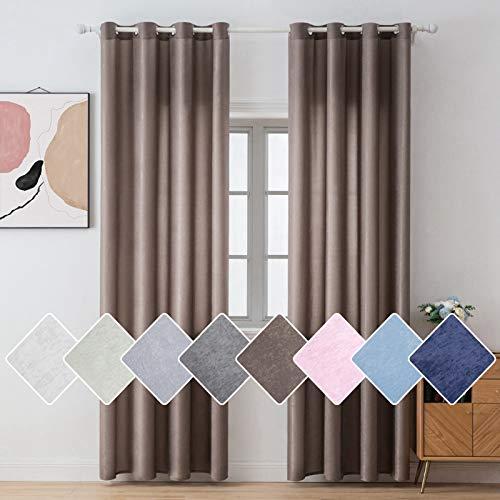 MIULEE 2er Set Voile Vorhang Sheer Vorhänge mit Ösen Seidengewerbe Halbtransparenter mit Flaum Ösenvorhang schals Luftig Fensterschal für Wohnzimmer Schlafzimmer 140 x 225cm(B x H) Braun