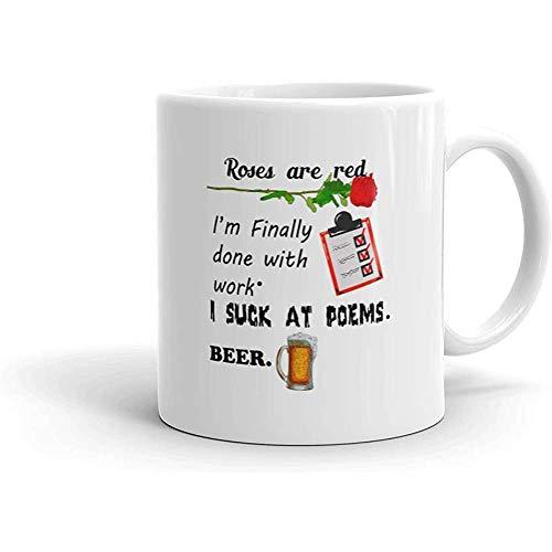 Kaffeebecher,Keramikbecher,Kaffeetasse,Lustige Humor Neuheit Rosen Sind Rotes Bier Gedicht 11Oz Keramik Kaffee Teebecher