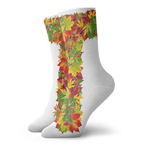 Calcetines suaves de longitud media de pantorrilla, símbolo del alfabeto en T en mayúscula con un montón de hojas de roble de otoño sombreadas, calcetines para mujeres y hombres, ideales para correr