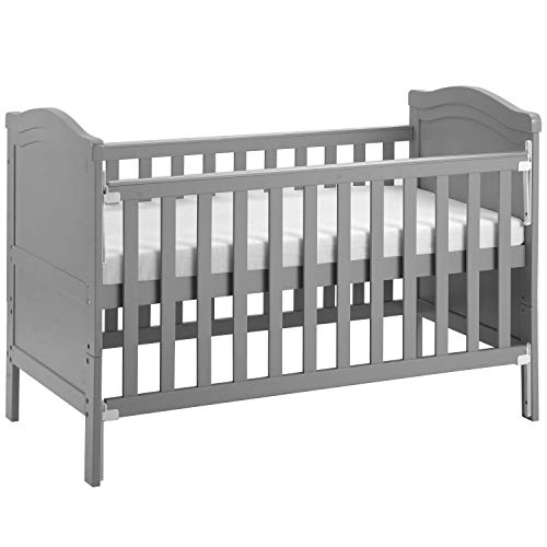 Solid Wood Baby Cot Bed Toddler Bed with Foam Mattress│Converts into a Junior Bed │Single-Handed Dropside Mechanism│3 Adjustable Position (Gray)