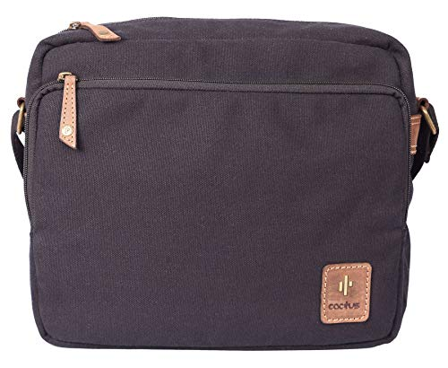 Cactus Canvas and Distressed Oiled Leather Organiser/Messenger Bag 828_81 Black