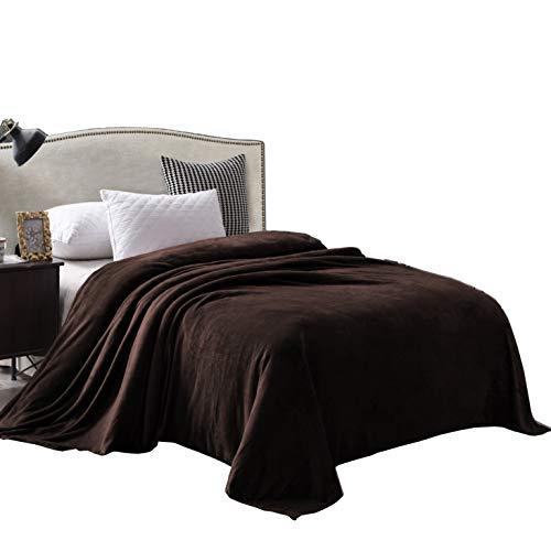Exclusivo Mezcla Queen Size Flanell-Fleece-Samt-Plüsch-Bettdecke als Tagesdecke/Tagesdecke/Bettüberwurf (228,6 x 228,6 cm, Kaffeebraun) – weich, leicht, warm & gemütlich
