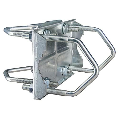 PremiumX - Abrazadera doble para mástil de antena satélite, galvanizada, de alta calidad, hasta 60 mm de antena