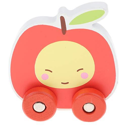 D DOLITY Nachziehspielzeug Karikatur Frucht Obst Spielzeug mit Vier Rädern, pädagogisches Spielzeug für Kinder - Apfel