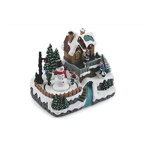 Galileo Casa Villaggio Natale c/Musica e Luci, Multicolor, Misure: l. 20 x p. 14,5 x h. 17 cm