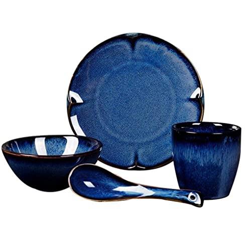 CCAN Vajilla de cerámica, 16 Piezas, Juego de vajilla de Porcelana Azul Retro, Cuenco de cerámica, Plato, Cuchara y Taza, Servicio para 4 Personas, decoración Elegante Interesting Life