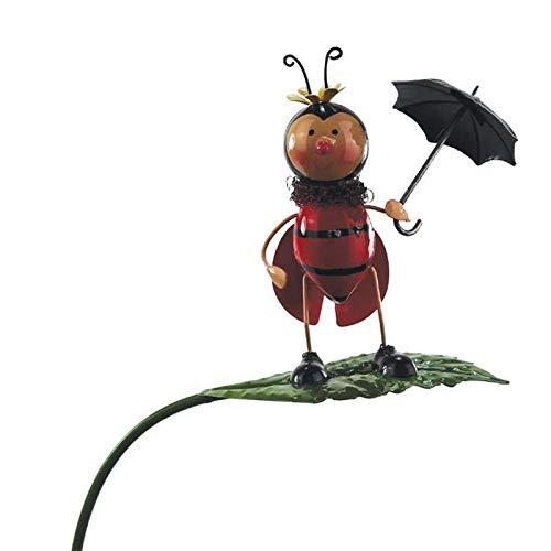 Gartenstecker Marienkäfer mit Schirm auf Blatt Beetstecker Gartenstab Gartendeko Metallfigur Rankhilfe