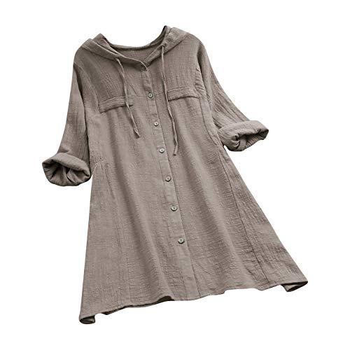 VEMOW Sommer Herbst Elegante Damen Plus Größe Dot Print Lose Baumwolle Casual Täglichen Party Strandurlaub Kurzarm Shirt Vintage Bluse Pulli(Y3-Grau, 50 DE / 5XL CN)