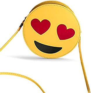 Girls' Bag Yellow Leather - Heart - Fun - Laughter - Smiley Face WhatsApp Emoji Symbols