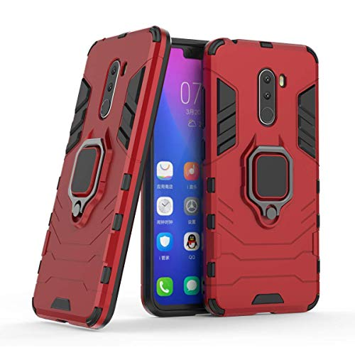 Compatible con Xiaomi Pocophone F1 Funda, Anillo Metálico Sujeción Soporte Antichoque Rígido Caja (Funciona con el Montaje de Coche Magnético) Doble Capa Sólido Case Carcasa - Rojo