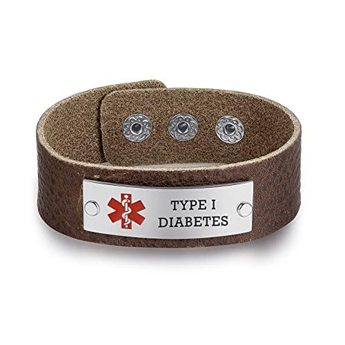 Gratis grabado personalizado cómodamente envuelto cuero pulseras de identificación médica para hombres pulseras de alerta personalizadas ajustables marrón