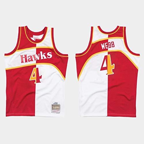 Camiseta De Spud Webb para Hombre, Uniforme De Baloncesto De Los Atlanta Hawks # 4 Nueva Camiseta De Malla Informal Camiseta Transpirable Sin Mangas Camiseta De Swin Two-Color-XXL