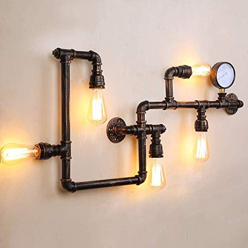 LLSS Vintage Metal Water Pipe Light Lámpara de Pared Retro Nostalgia Industrial Cafe Bar Lámpara de Pared Apliques de luz Lámpara de Pared Lámpara de Pared Steampunk Lámp