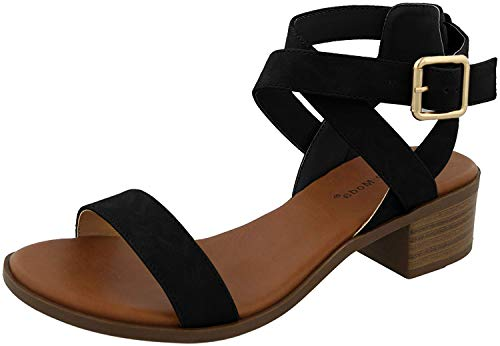 TOP Moda Women's Vision-75 Ankle Wrap Adjustable Buckle Stacked Chunky Heel Sandal,Black,8