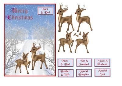 Reindeer Christmas Card with Rudolph & Clarice Decoupage by Julie Hassall