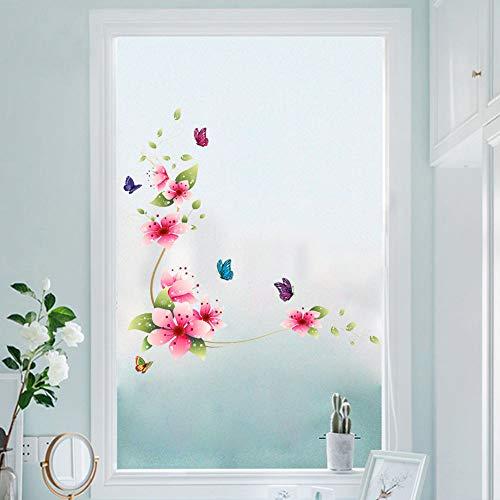WandSticker4U®- Wandtattoo BLUMEN RANKE rosa/ rot I Wandbild: 62x64cm I Aufkleber Blüten Zweig Schmetterlinge Fensterbilder Frühling I Deko für Wand Fenster Bad Küche Fliesen Möbel