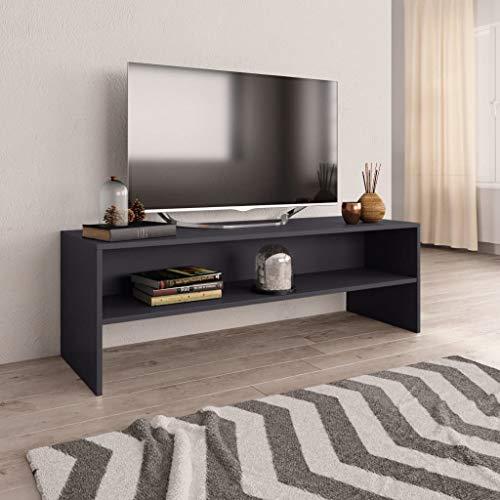 UnfadeMemory Mueble para TV,Mesa para TV,Estante de TV para Salón Dormitorio,Estilo Clásico,con Compartimento Abierto,Madera Aglomerada (Gris, 120x40x40cm)