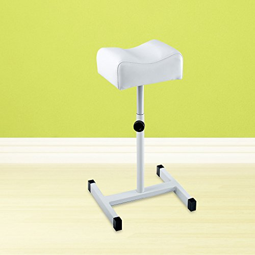 Funtell Adjustable Height Leg Rest Foot Cushion Footstool Support Chair Pedicure Manicure (White)