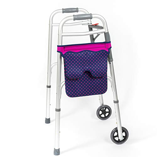 Scoot-About Bag - Hands Free Storage for Walkers, Folding Walkers, Rollators. (Pink Dots)