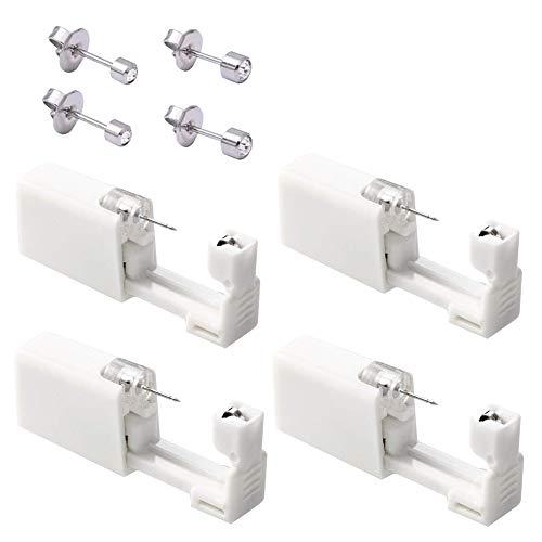 MUFENA Kit de 4 piezas para piercing de oreja, pistolas de seguridad sin dolor, kit de pistolas de perforación con pendientes para mujeres, hombres y niñas (plata)