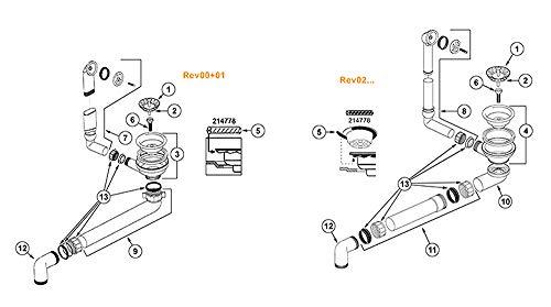 BLANCO Ablaufgarnitur 1 x 3,5' Sieb ohne Ablauffernbedienung, Überlauf rund