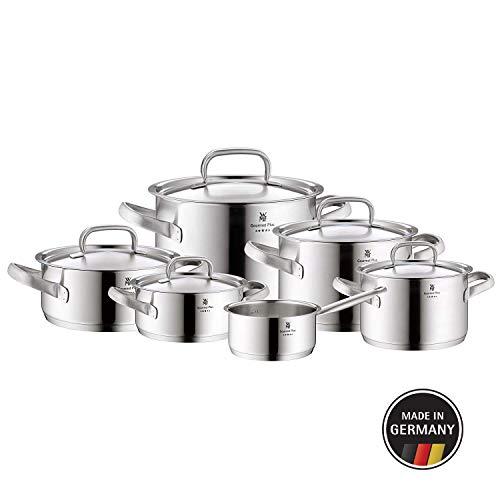 WMF Gourmet Plus Topfset 6-teilig, Cromargan Edelstahl mattiert, Töpfe mit Metalldeckel, Induktionstöpfe, Topf Induktion, Innenskalierung, Dampföffnung, unbeschichtet