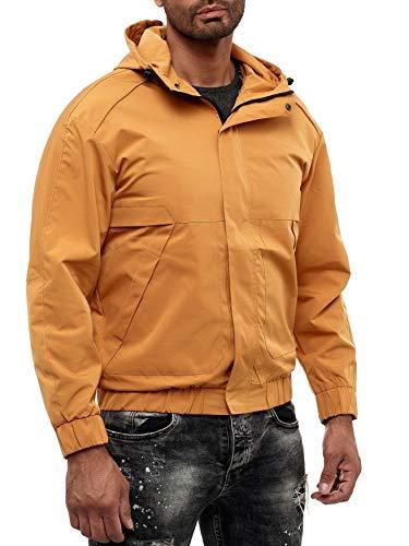 EGOMAXX Herren Basic Übergangsjacke College Blouson mit Kapuze Regen Jacke, Farben:Gelb, Größe Jacken:XL