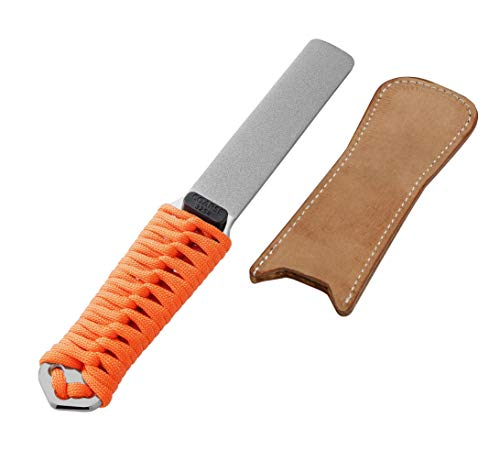 SHARPAL 181N Dual-Grit Diamond Sharpening Stone File with Leather Strop, Tool Sharpener for Sharpening Knife, Axe, Hatchet, Lawn Mower Blade, Garden Shears, Chisels, Spade, Drills and All Blade Edge