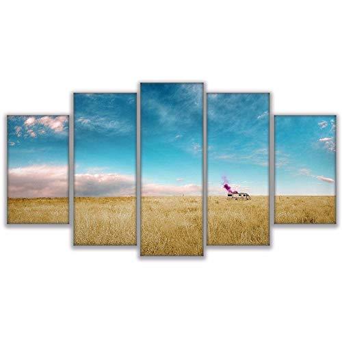 axqisq Hd Gedruckt Leinwand Bilder Poster Wohnzimmer Wohnkultur 5 Stücke Dickes Wachstum Von Gras Breaking Bad Rv Malerei Wandkunst