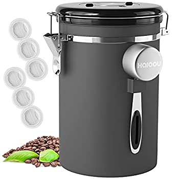 HAIOOU Airtight Coffee Canister 22OZ Large Stainless Steel Coffee Bean Storage Container with Date Tracker Measuring Scoop CO2 Releasing Valves and Mini Tongs for Beans Grounds and more - Gray
