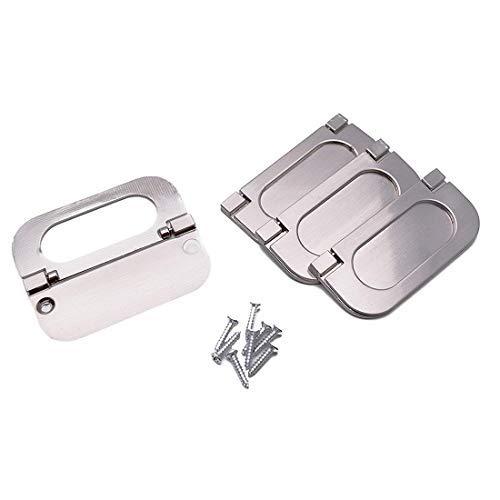4 cajones de armario moderno empotrados con tirador de puerta para armario de cocina, cajonera (6 mm, plateada)